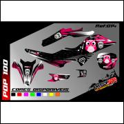 kit gráfico Honda pop 100cc corujinhas pink, completo, laminado