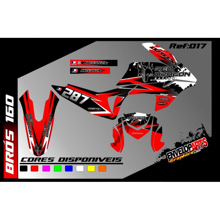 kit gráfico Honda brós 160cc vermelha, completo, laminado