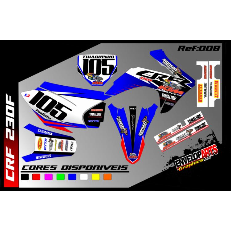 kit gráfico Honda crf 230cc AZUL, completo, laminado